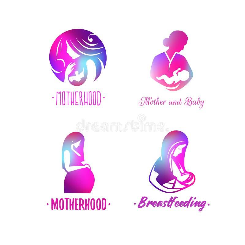 育儿、母性和生育子女商标  库存例证
