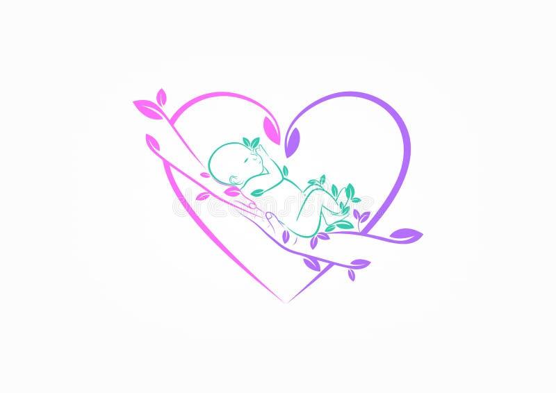育儿商标、育儿象、自然宝贝关心标志、爱恋的家庭标志和健康儿童设计观念设计 皇族释放例证