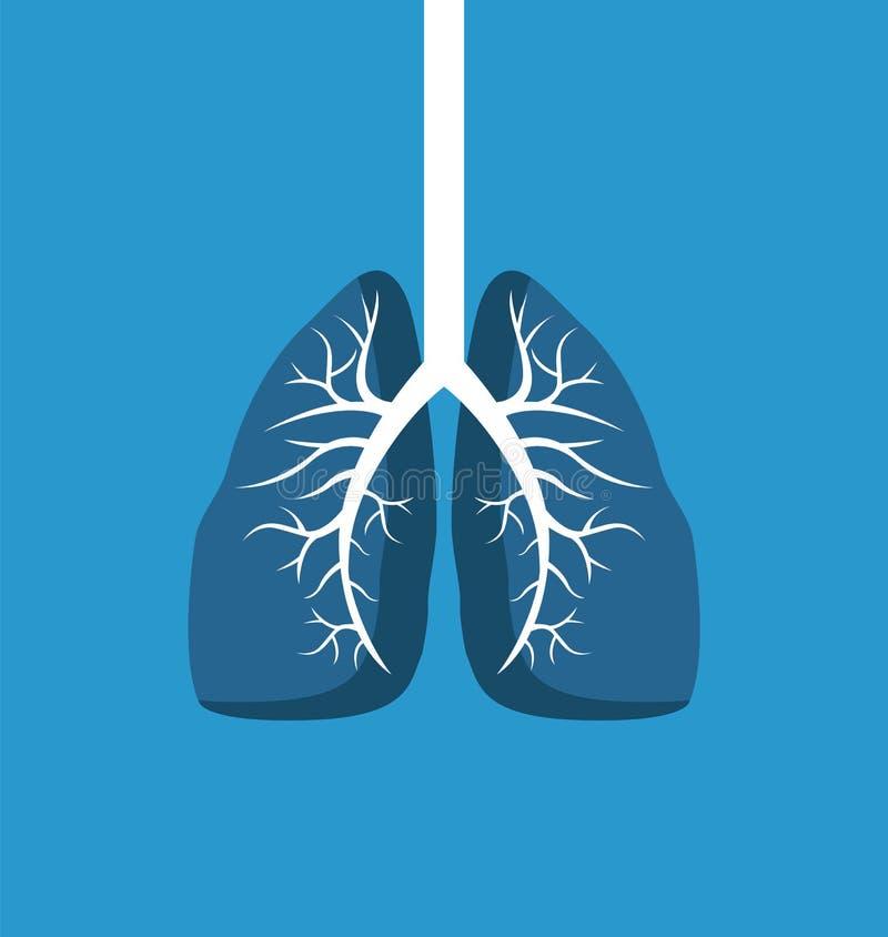 肺在蓝色背景隔绝的图象横幅 库存例证