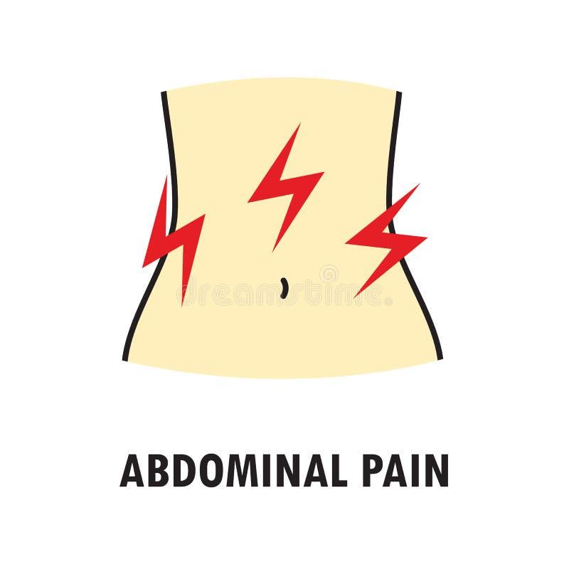 胃肠痛苦或胃疼痛 在白色背景在色的线性样式的商标或象模板隔绝的 皇族释放例证