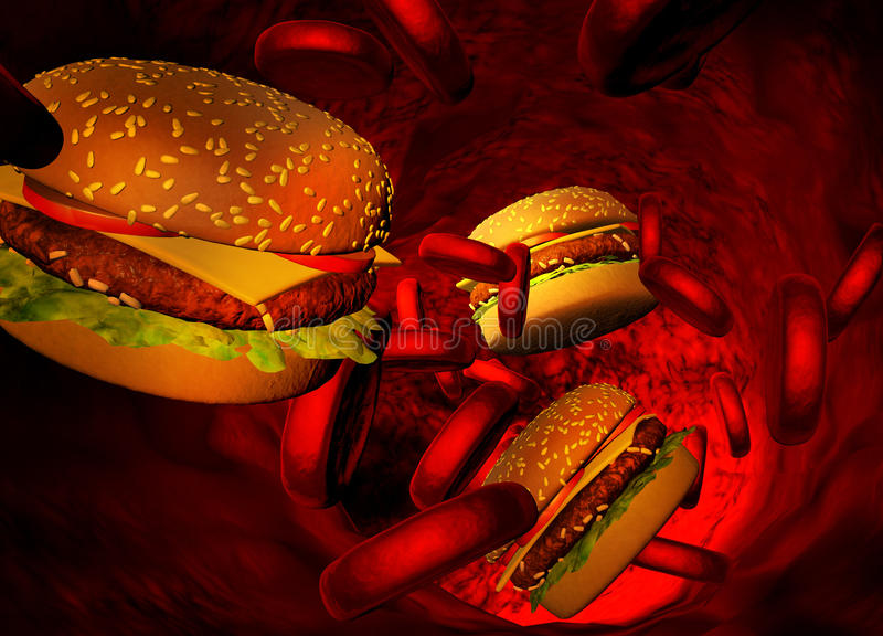 胆固醇阻拦了动脉,医疗概念 皇族释放例证