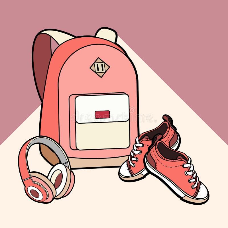 背包、运动鞋和耳机导航被隔绝的集合 青年时尚行家背包,在最低纲领派样式的鞋子例证 向量例证