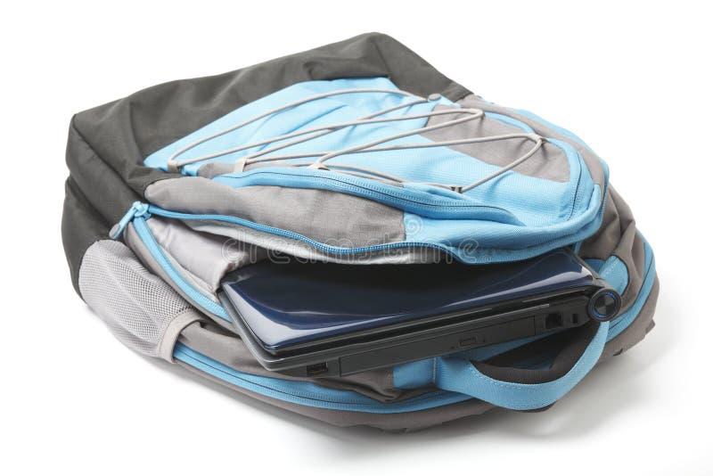 背包于查出的膝上型计算机 免版税库存图片