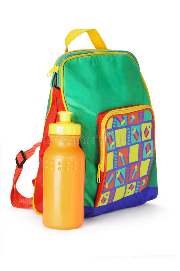 背包五颜六色的容器学龄前儿童水 免版税库存图片