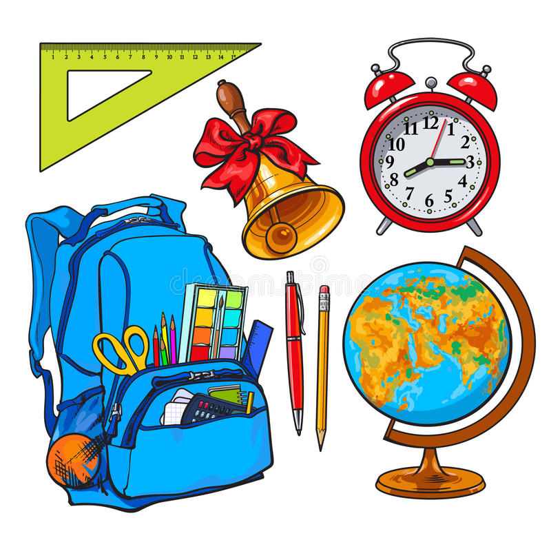 背包包装了与学校项目、闹钟、地球和响铃 向量例证