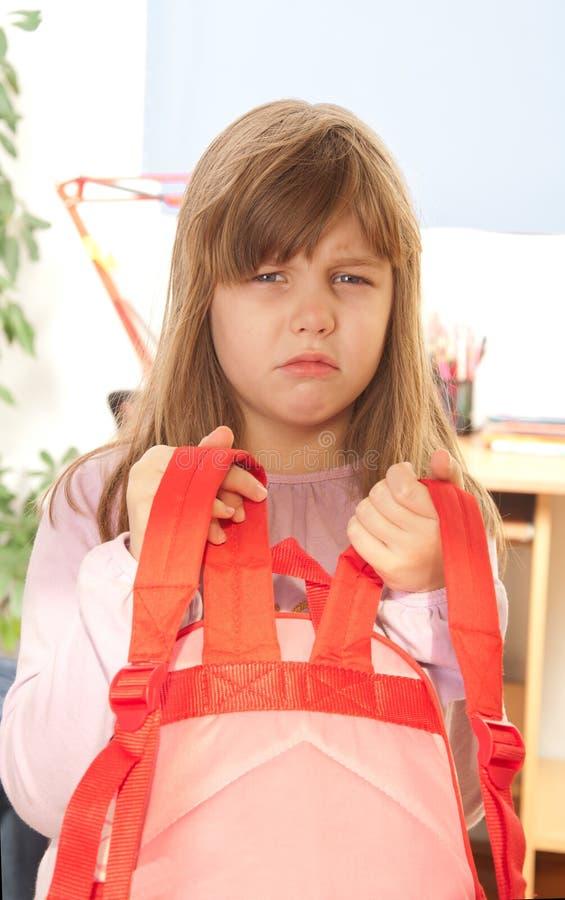 背包女孩大量培养 免版税库存图片