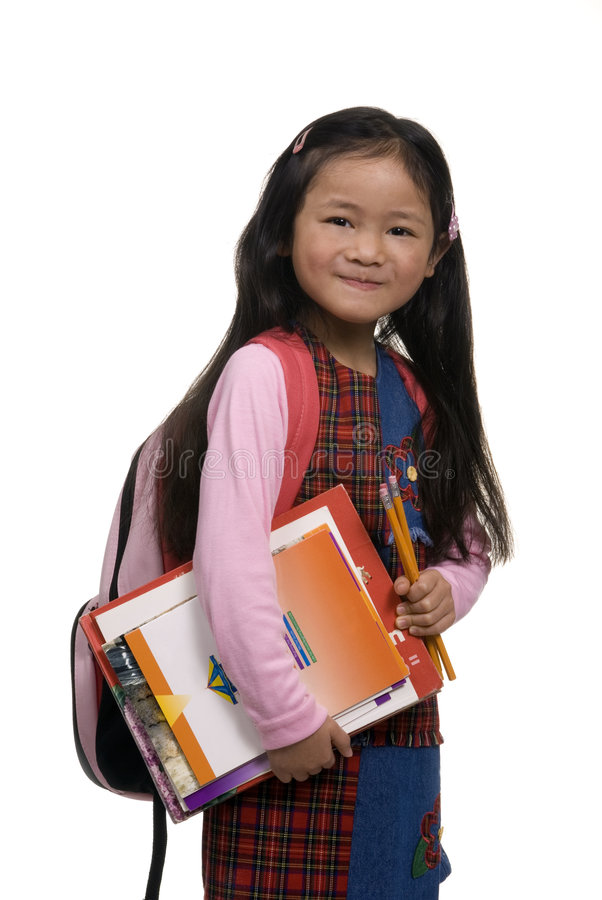 背包女孩年轻人 免版税库存照片