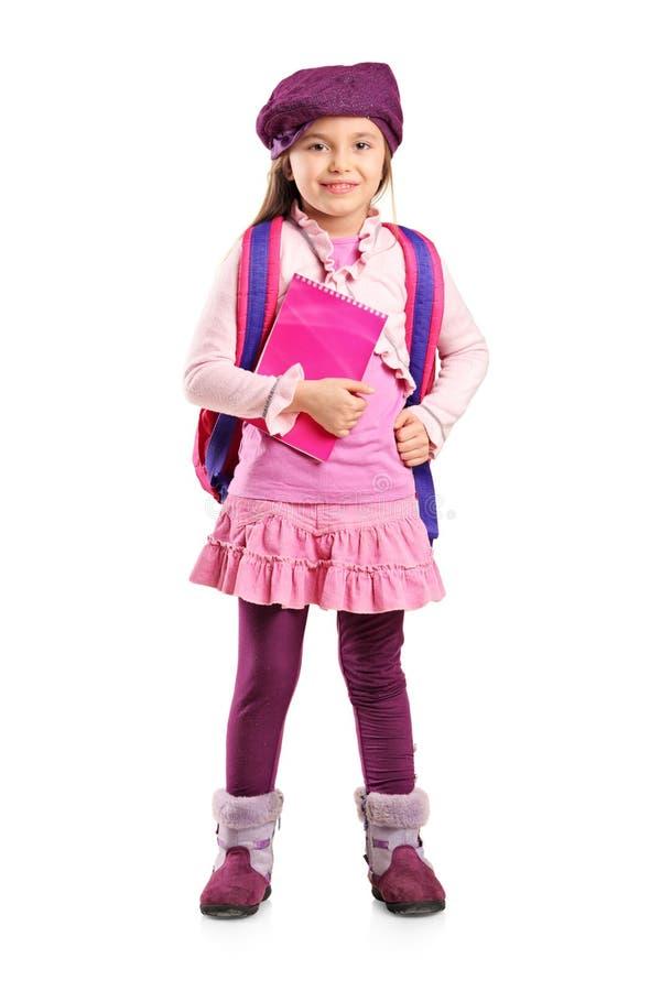 背包女孩藏品笔记本学校 免版税图库摄影