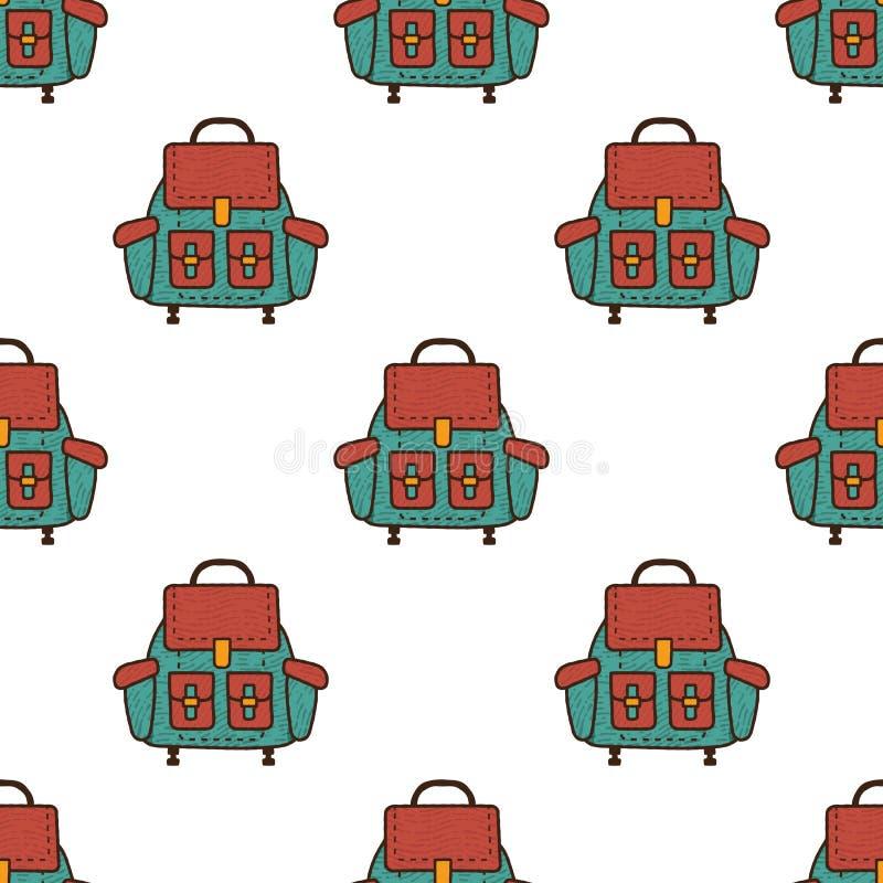 背包平的无缝的样式 背包标志贴墙纸 野营的元素背景 设计例证股票您使用的向量 库存例证