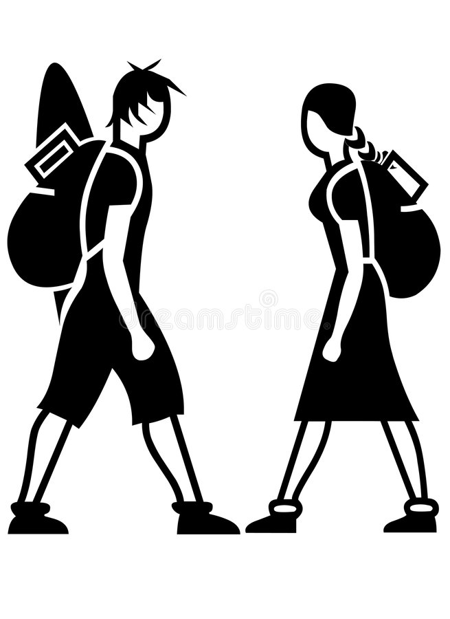 背包徒步旅行者图标 库存图片