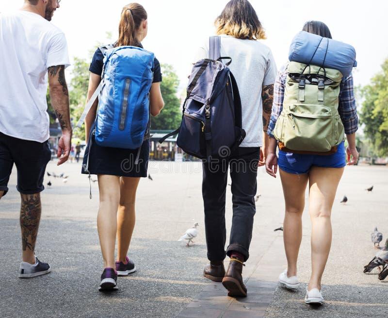 背包徒步旅行者在清迈泰国 图库摄影