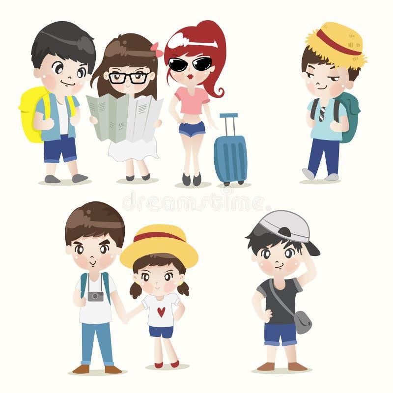 背包徒步旅行者男孩和女孩组合 库存例证