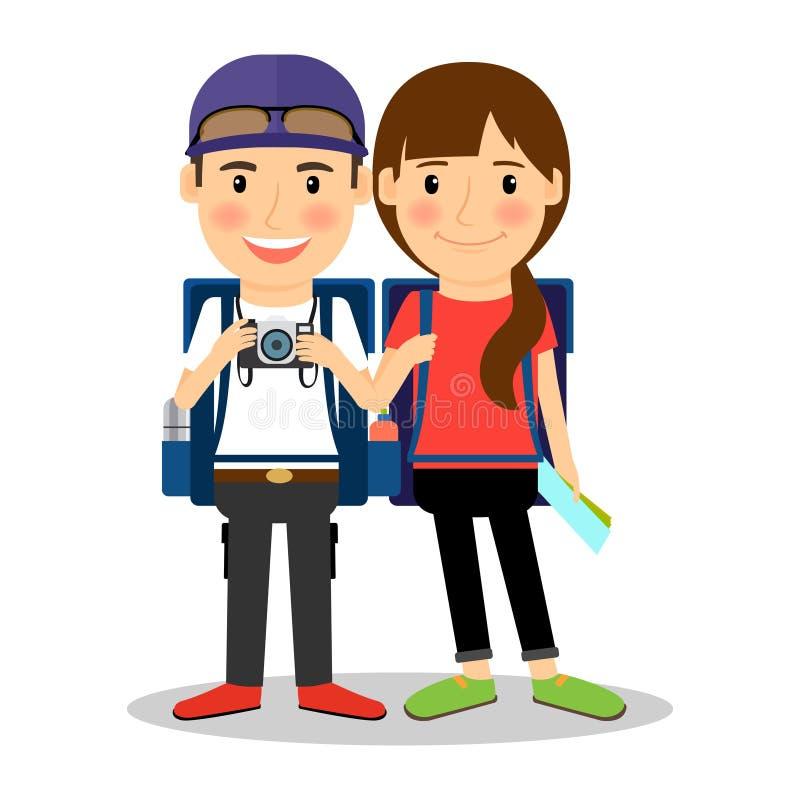 背包徒步旅行者年轻旅游夫妇 向量例证