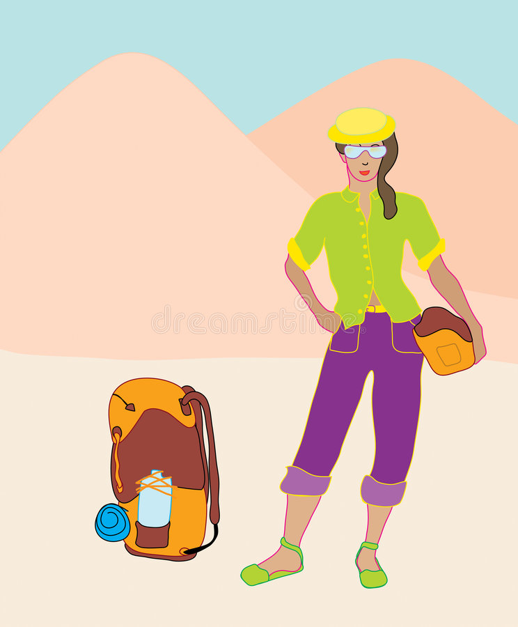 背包徒步旅行者 库存例证