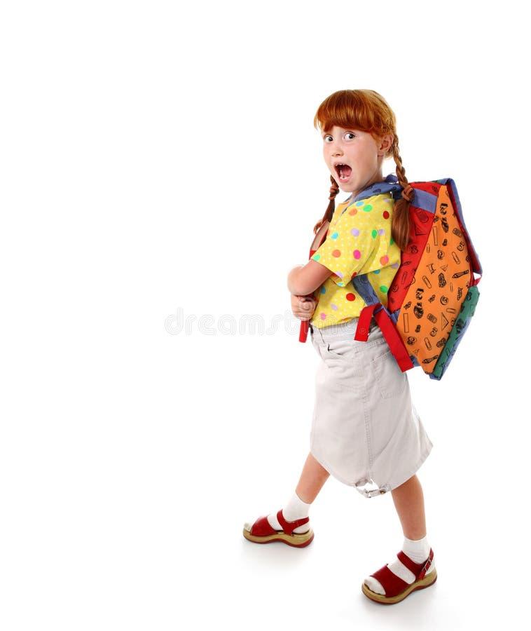 背包滑稽的女孩holittle 免版税库存照片