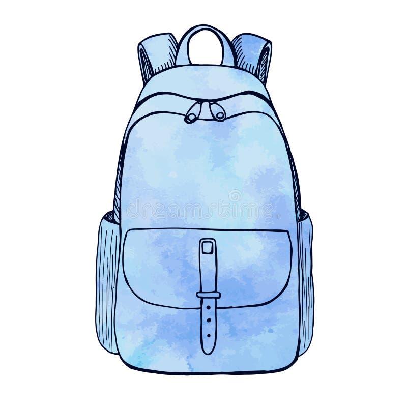背包的剪影 背景背包查出的白色 剪影样式的传染媒介例证 风格化水彩 向量例证