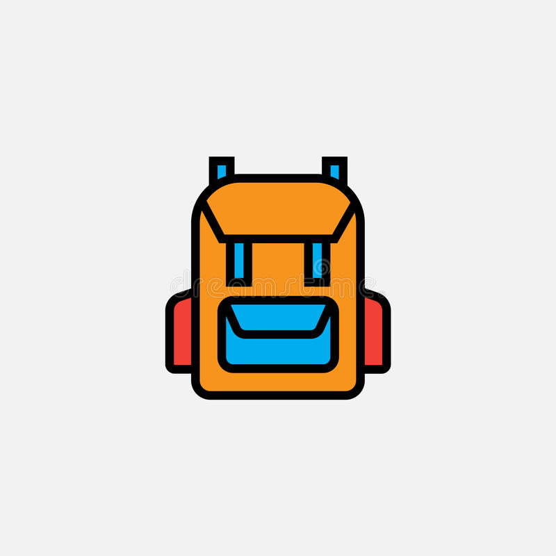 背包背包象,概述传染媒介商标例证,填装了在白色隔绝的颜色线性图表 皇族释放例证