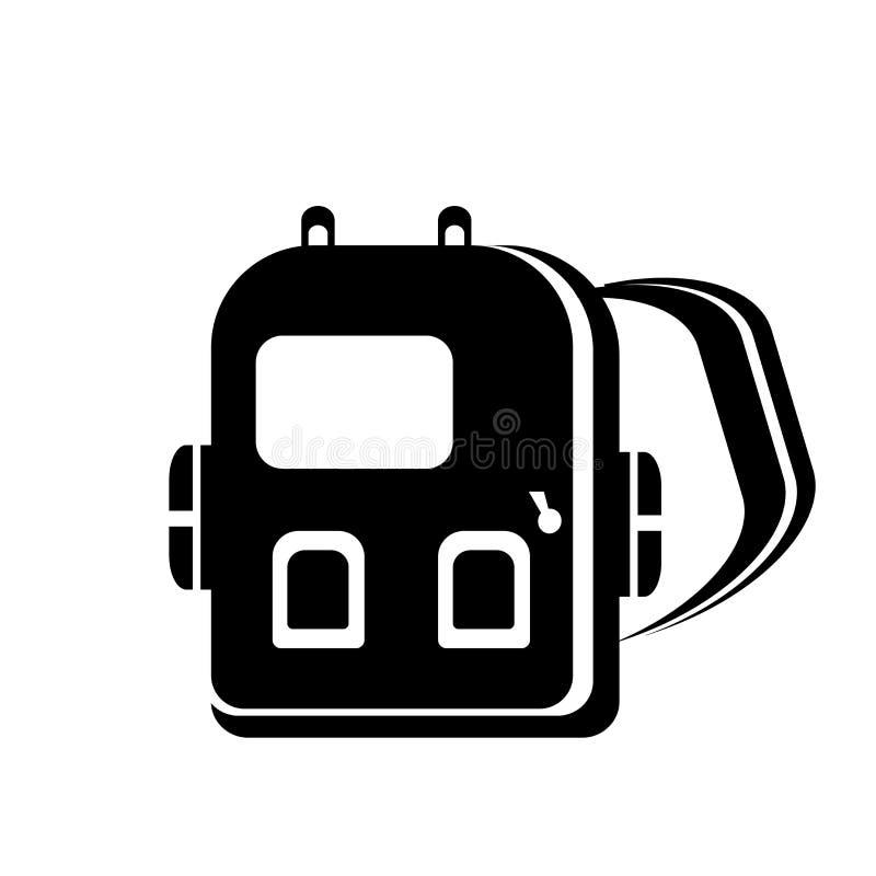 背包象在白色背景和标志隔绝的传染媒介标志,背包商标概念 皇族释放例证