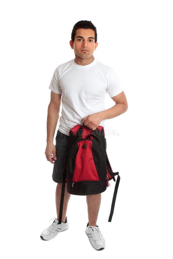 背包运载的学员 免版税库存图片