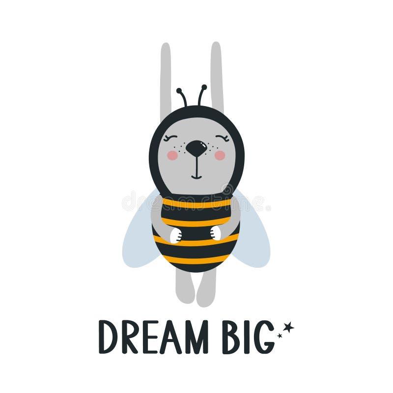 背景、兔子-蜂和文本 梦想大 皇族释放例证