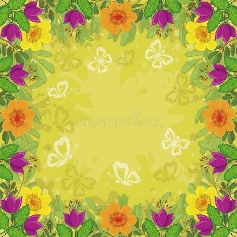背景、花和蝴蝶 皇族释放例证