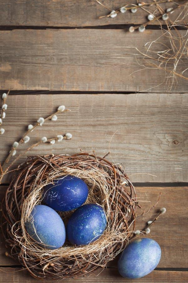 背景上色了复活节彩蛋eps8格式红色郁金香向量 在秸杆和杨柳分支巢的蓝色鸡蛋在一张木桌上的 免版税库存照片
