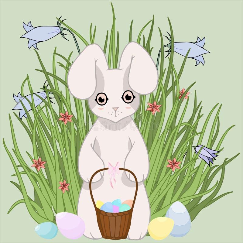 背景上色了复活节彩蛋eps8格式红色郁金香向量 草、兔宝宝和鸡蛋 愉快的复活节 免版税图库摄影