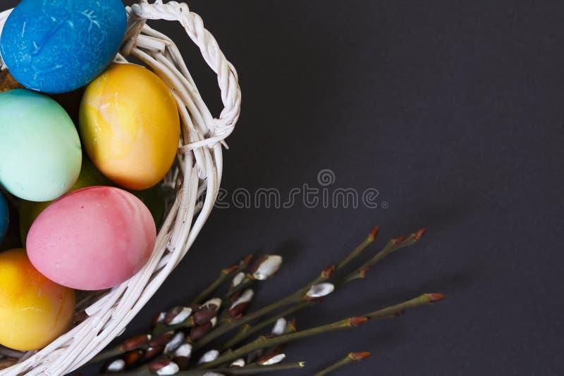背景上色了复活节彩蛋eps8格式红色郁金香向量 复活节五颜六色的色的鸡蛋看法在篮子的和杨柳在黑背景分支 库存图片