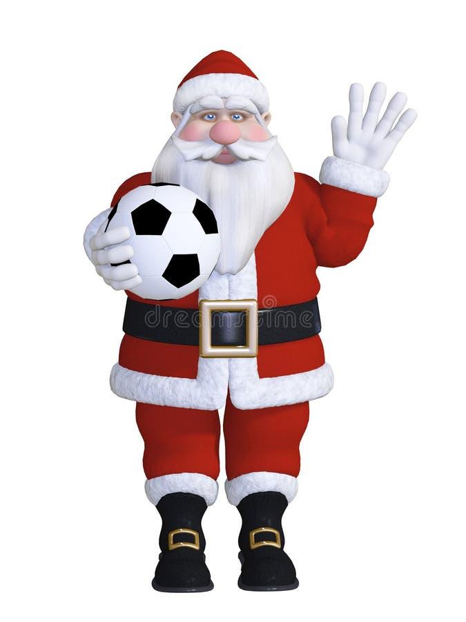 背景中心橄榄球查出演奏位置圣诞老人白色 库存例证