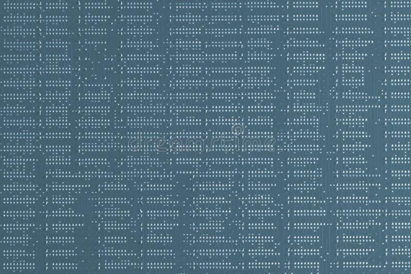 背景二进制代码计算机科技 关闭蓝色数字电子电路板 焊剂边 PCB的宏指令 库存图片