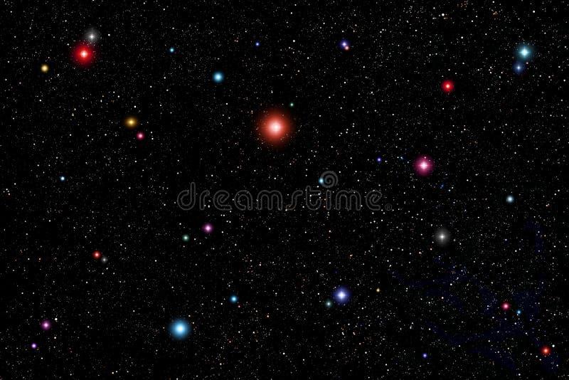 背景五颜六色的空间星形 皇族释放例证