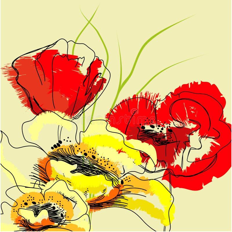 背景五颜六色的花 皇族释放例证