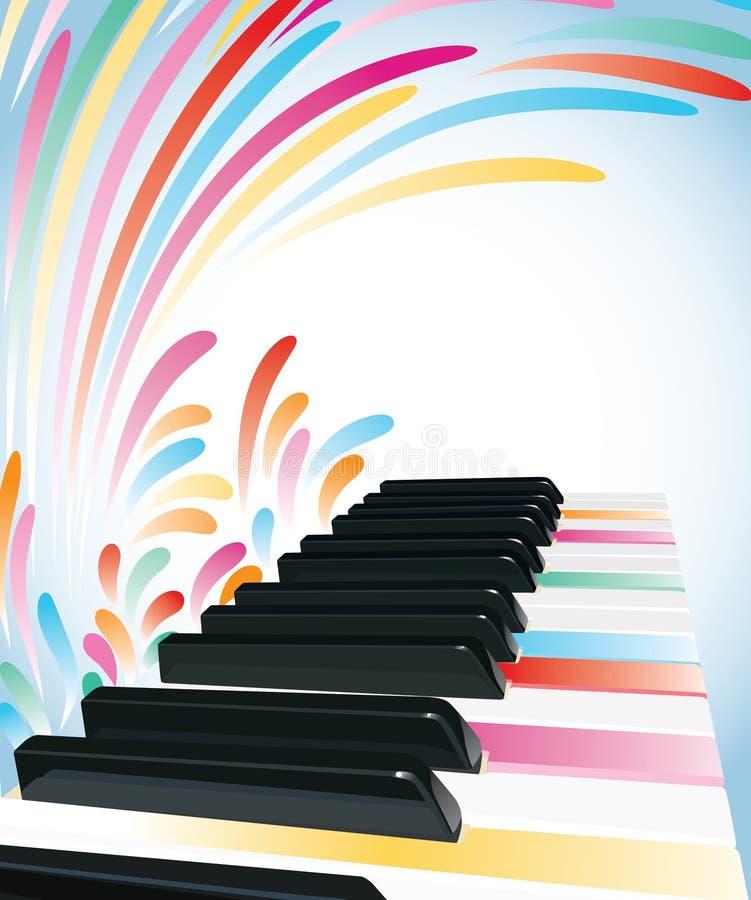 背景五颜六色的钢琴 向量例证