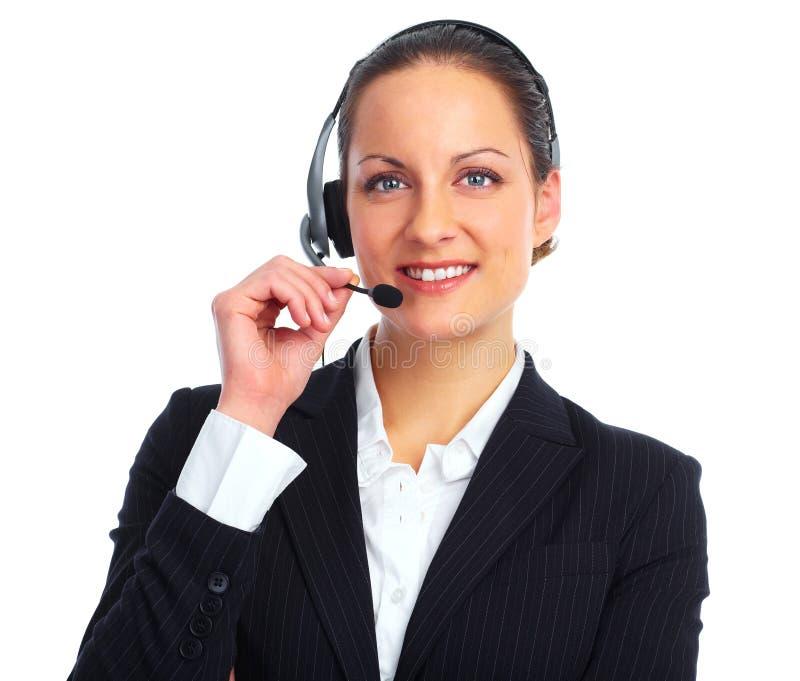 背景企业耳机射击工作室白人妇女 免版税图库摄影