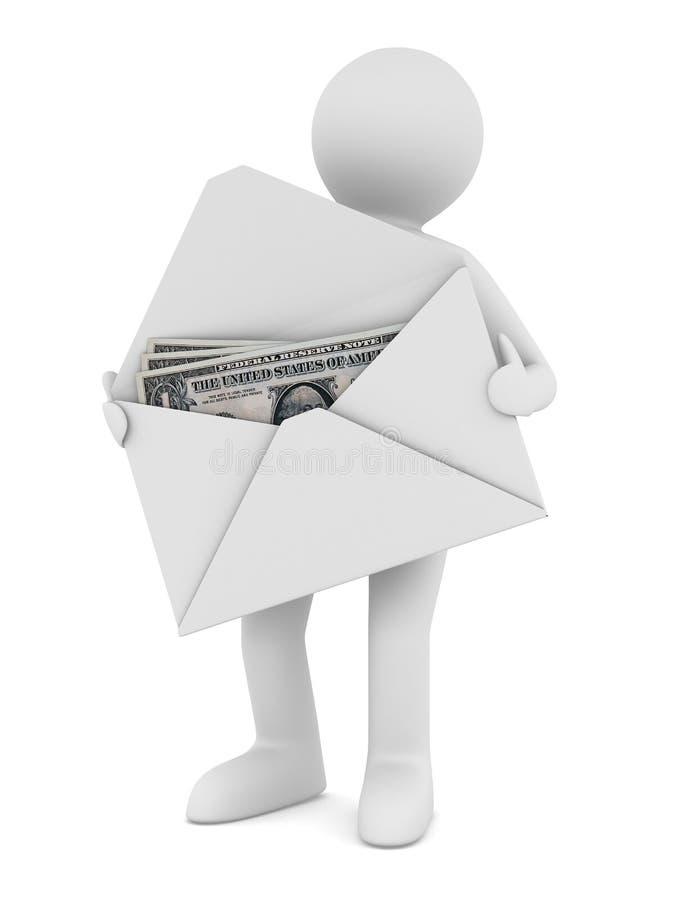 背景信包货币白色 库存例证