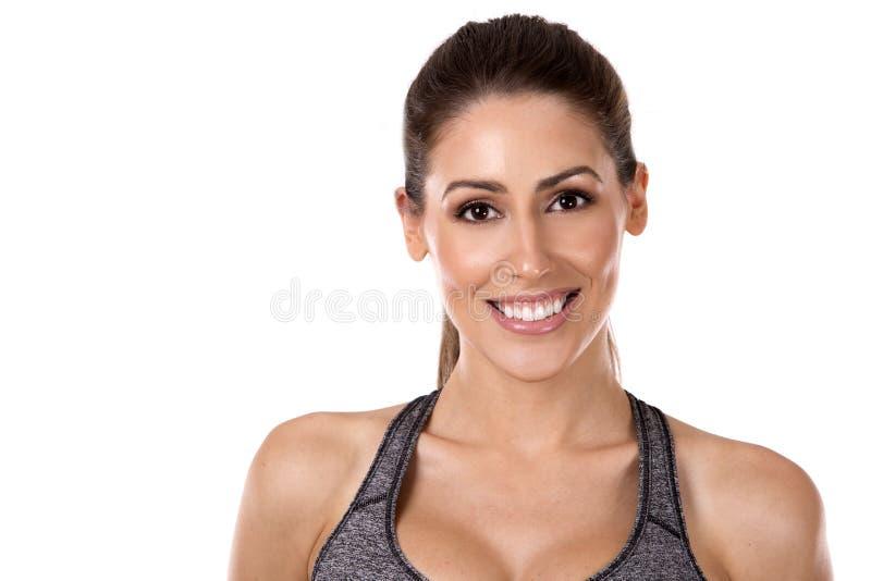 背景健身白人妇女 免版税图库摄影