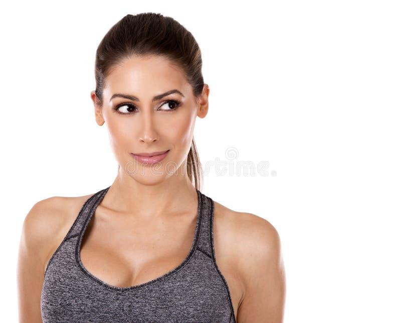 背景健身白人妇女 免版税库存照片