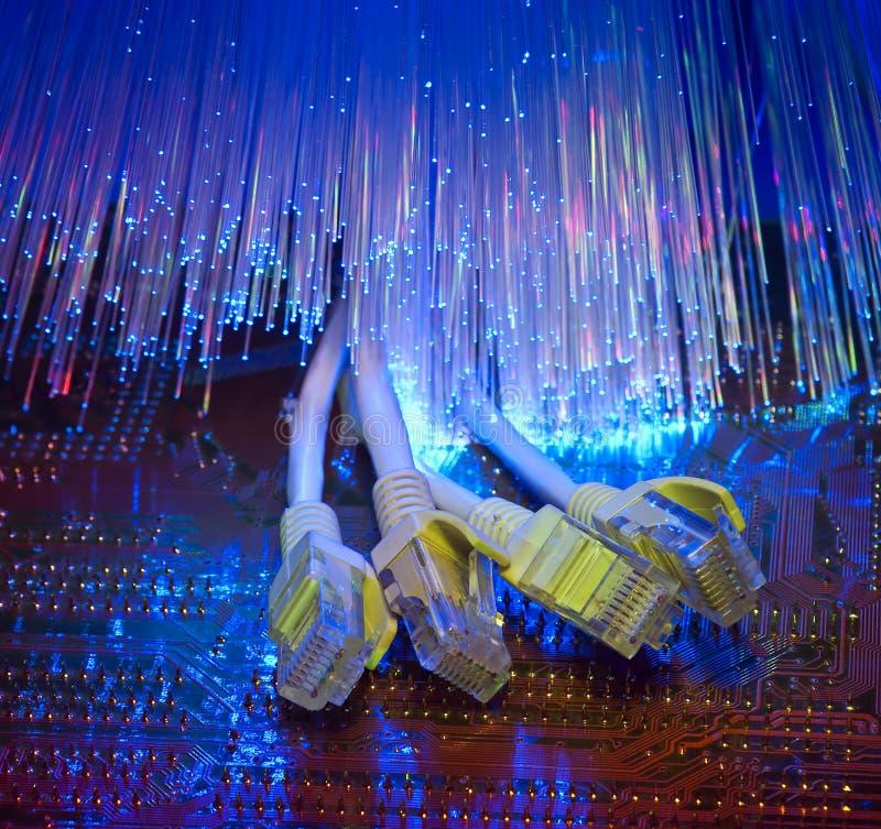 背景光学电缆的纤维 免版税库存图片