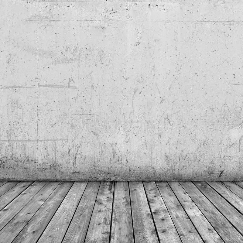 背景内部:混凝土墙和木头地板 免版税库存照片