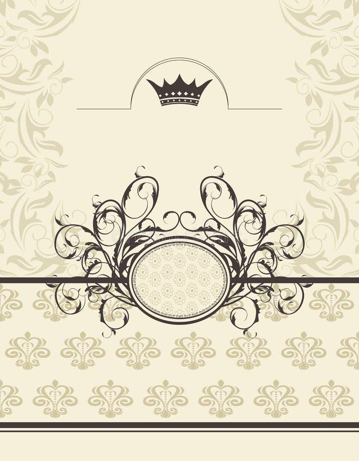 背景冠花卉框架葡萄酒 向量例证