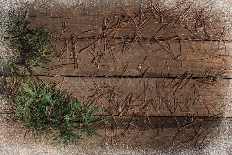 背景冬天圣诞节纹理老树地板洒了机智 库存照片