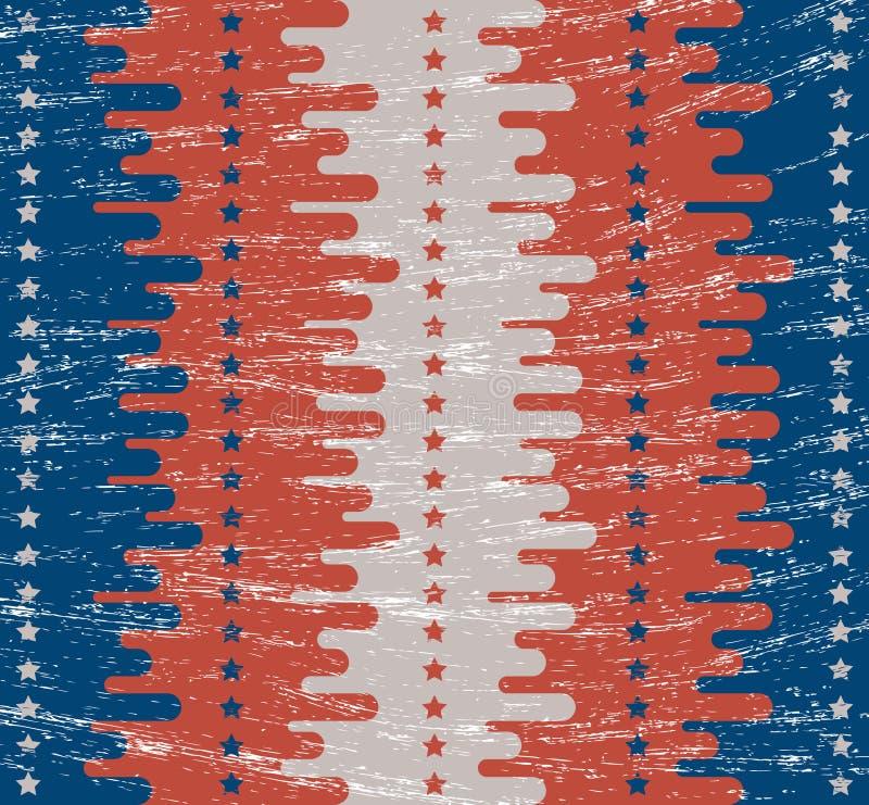 背景几何老装饰品纸张葡萄酒 减速火箭的纹理 平的样式 绘在美国国旗的颜色 欢乐题材美国独立日7月第4 向量例证