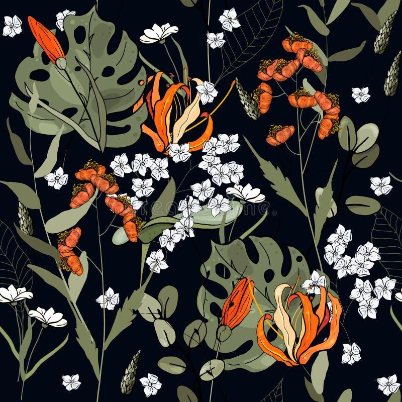 背景几何老装饰品纸张葡萄酒 墙纸 拉长的现有量 也corel凹道例证向量 植物的主题 被隔绝的无缝的花纹花样 皇族释放例证