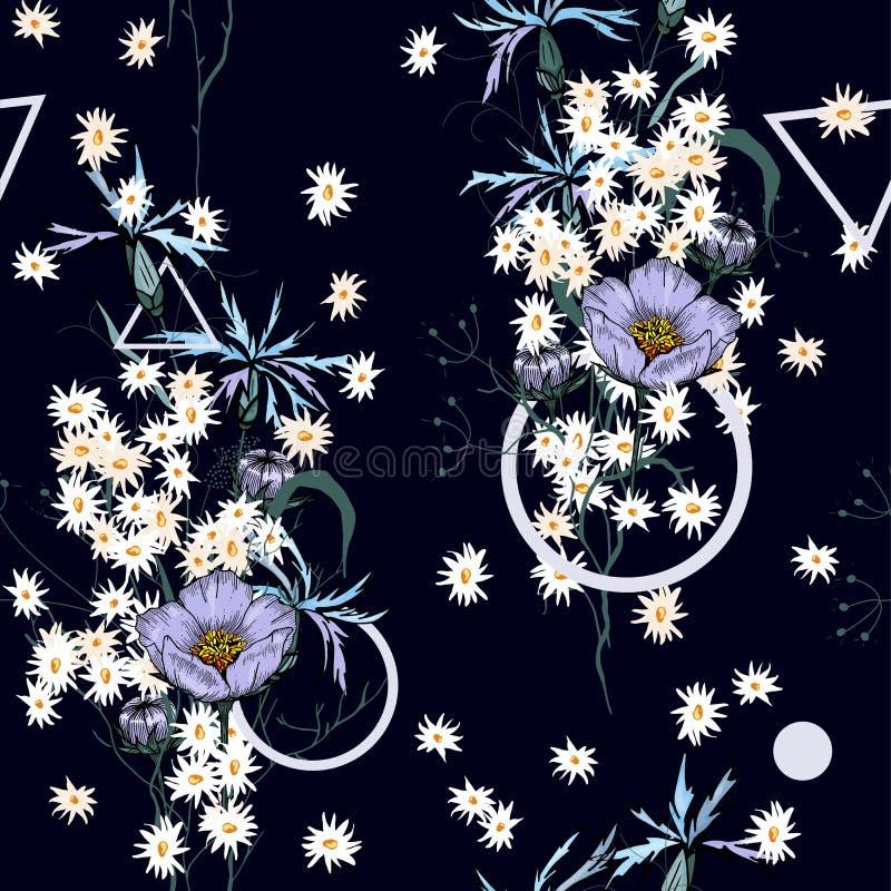 背景几何老装饰品纸张葡萄酒 墙纸 拉长的现有量 也corel凹道例证向量 植物的主题 被隔绝的无缝的花纹花样 库存例证