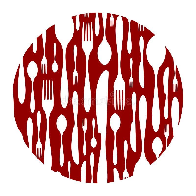 背景刀叉餐具模式红色 皇族释放例证