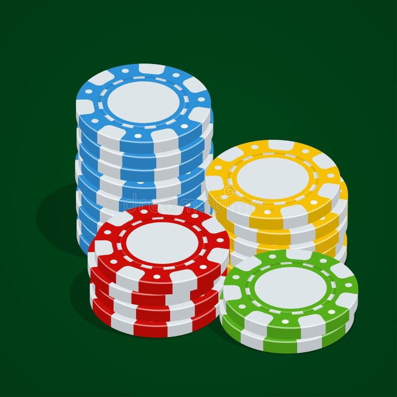 背景切削赌博查出的白色 赌博娱乐场象征 传染媒介纸牌筹码 3d平的等量传染媒介例证 库存例证