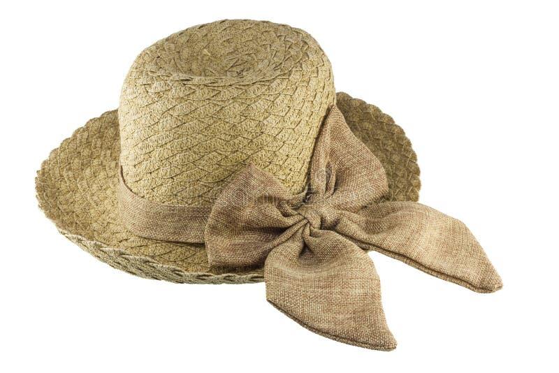 背景剪报帽子查出的路径秸杆白色 免版税库存照片
