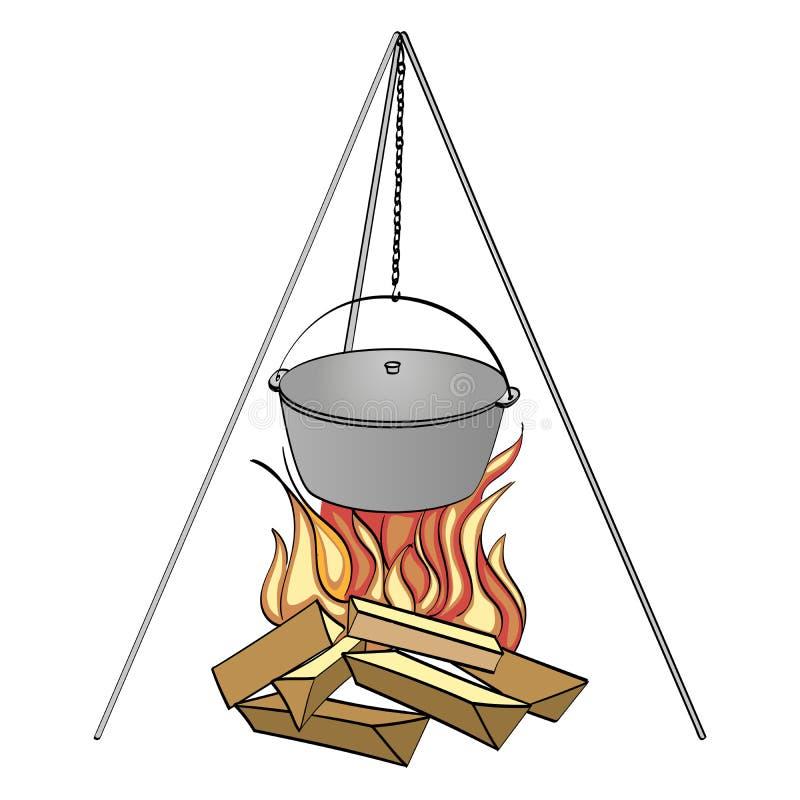 背景剪报查出的对象路径白色 与烹调的野营的篝火 光栅 向量例证