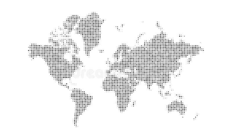 背景加点的映射世界 半音地球地图设计 向量例证