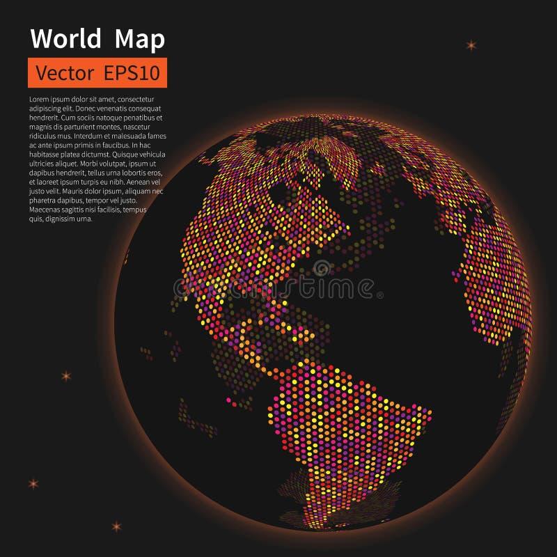 背景加点的映射世界 夜地球地球 全球化 库存例证